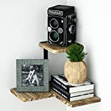 SRIWATANA Corner Shelf, 2 Tier Floating Shelves Wall Mounted, Rustic Wood Wall Shelves for Bedroom, Living Room, Bathroom, Kitchen, Office and more