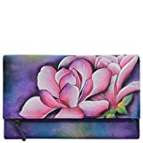 Anuschka Hand Painted Leather | Women's Three Fold Clutch | Magnolia Melody