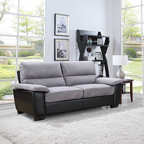 Divano Roma Classic Soft Microfiber And Bonded Leather