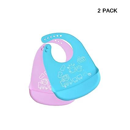 INCHANT impermeable de silicona para bebés baberos, ajustable, limpie, rueda para arriba un