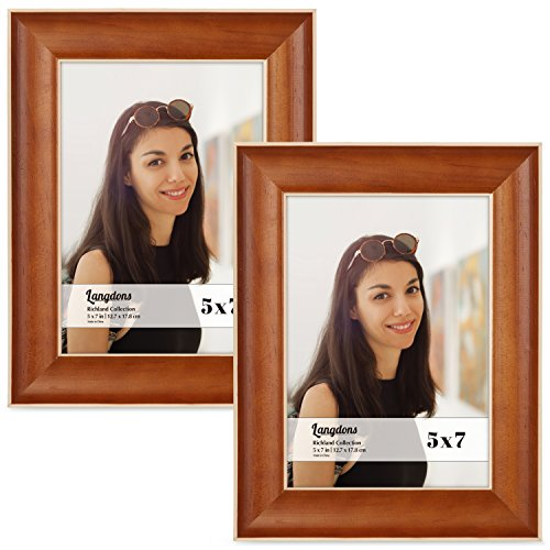 Langdons 5x7 Picture Frame Set (2-Pack, Honey Brown) Solid Wood Photo Picture Frames 5x7, Wall Hanging or Table Top, Display Picture Frame 5x7 Vertically or 7 x 5 Horizontally, Richland Series -