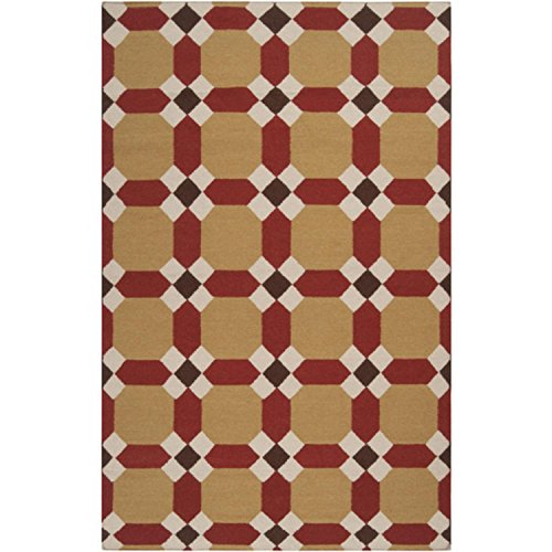 8' x 11' Sunny Squares Cumin and Burnt Sienna Wool Area Throw Rug (Rug Sienna Wool Burnt)