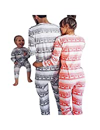 Christmas Parent-Child Outfit Elk Pattern Cotton Pajamas Set Family Matching Costume