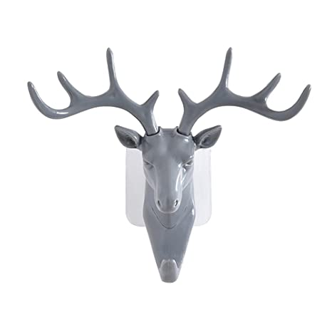 dragonaur Fashion cabeza de ciervo cuernos autoadhesivo gancho llaves gorro soporte de pared colgador para puerta, Gris, Medium