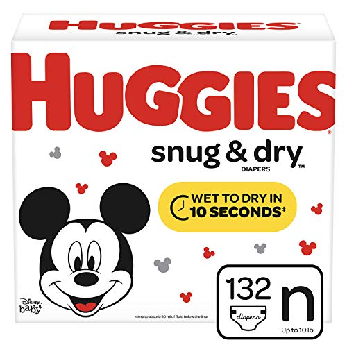 Huggies Snug & Dry Baby Diapers, Size Newborn (fits up to 10 lb.), 132 Count, Giga Jr Pack (Packaging May ()
