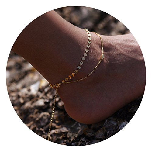 Fettero Anklet Women Handmade Dainty Summer Boho Beach Foot Chain Adjustable Double Layered Gold