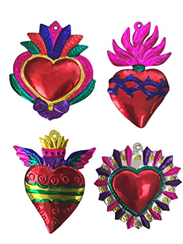 Heart Set Ornaments (Milagros Charms - Tin Painted Sacred Heart Ornaments - Mexican Art (set of 4) - Large - Multicolor)