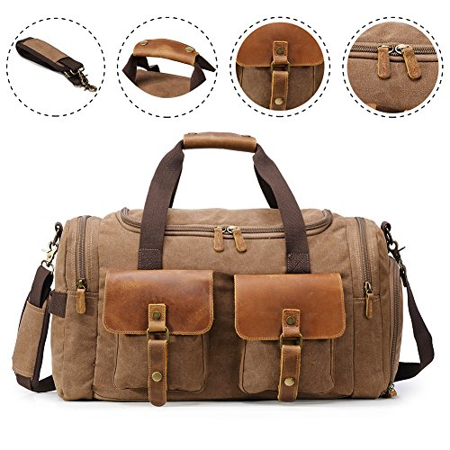 Canvas Duffle Bag Overnight Bags for Men Weekend Travel Duffel Weekender Bags for Women Canvas Leather Gym Travel Shoulder Tote Carry On Luggage Large with Shoes Compartment, College Student Gift by Kemy's (Image #5)
