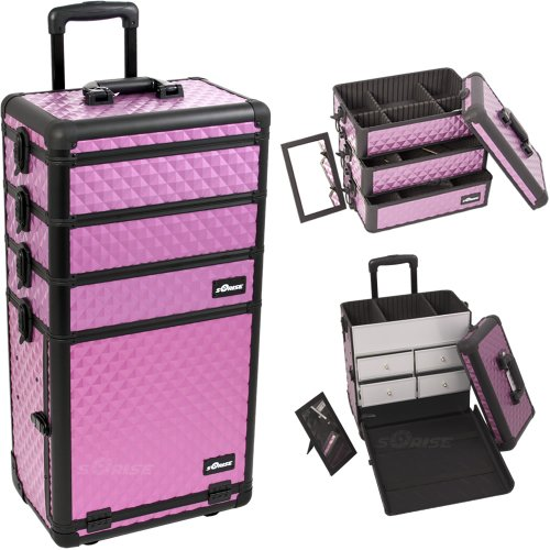 Sunrise Outdoor Travel Purple Diamond Trolley Makeup Case - I3362