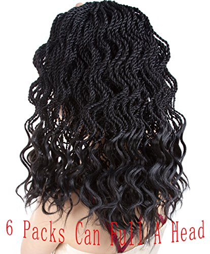 Goddess Senegalese Twist Crochet Hair Braids Wavy Ends Kanekalon Braiding Hair 2X Deep Wave Havana Mambo Dreadlocks Synthetic Braids Hair Extensions 6 Packs 35Strands/pack. (14, 1B#)