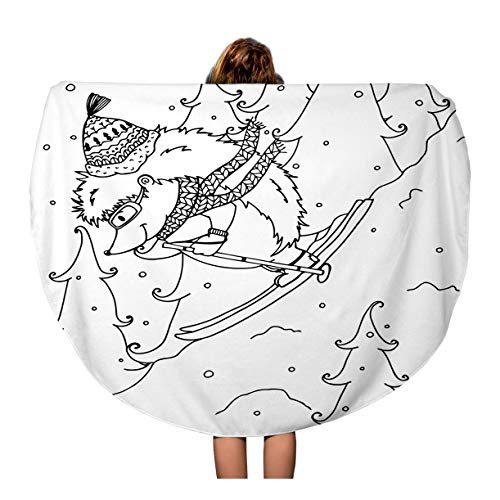 Semtomn 60 Inches Round Beach Towel Blanket Doodle Urchin on Skis Coloring Page Anti Stress Travel Circle Circular Towels Mat Tapestry Beach -