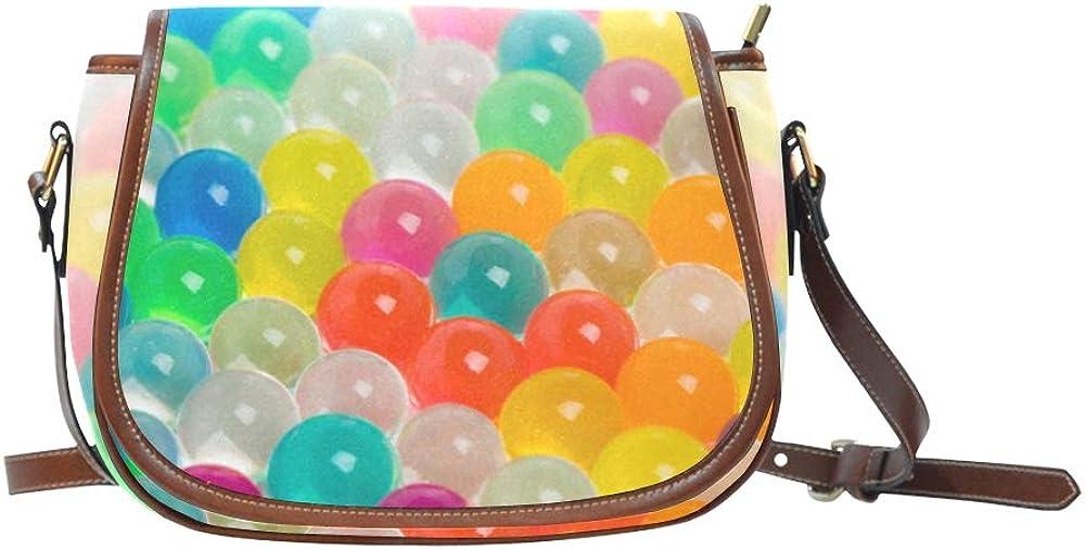 Colorful Balls Floating On The Blue Pool Saddle Cross Body Bag Flap With Magnetic Snap Printed Crossbody Shoulder Bag Shoulder Bag