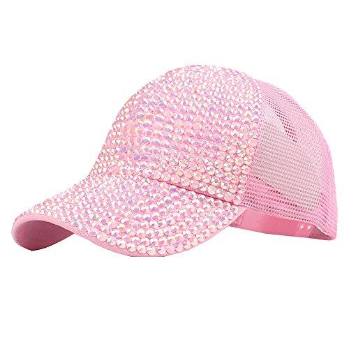 (ZOMUSAR Women Rhinestone Mesh Hats Fashion Baseball Cap Bling Diamond Dad Hat (C))