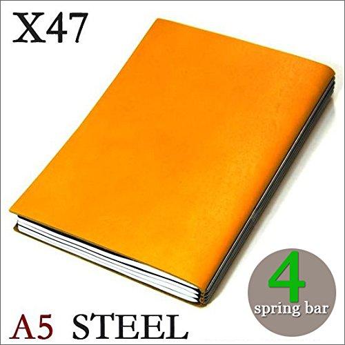 X47 STEEL 本革 A5 イエロー 4本バー ドイツ製 ノートブック 横罫無地方眼 ノートセット   B016DBGG0C