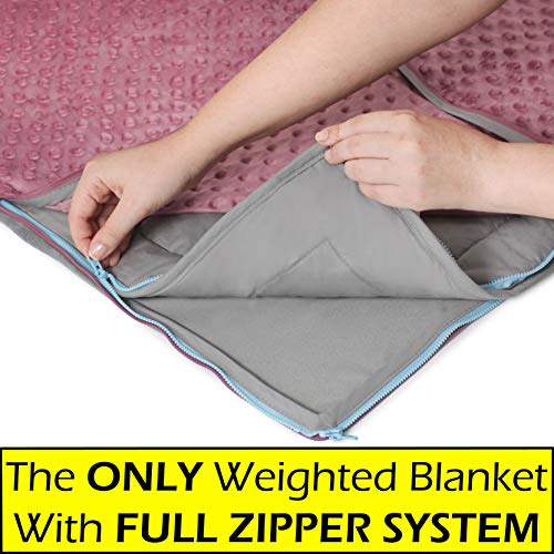 15lb Weighted Blanket + FREE Removable Minky Cover + FULL ZIPPER SYSTEM, Cozy & Cool Weighted Blanket For Adults & Kids, Our Heavy Queen Blanket Made Of 100% Cotton + Glass Beads, Large 60x80 Blanket
