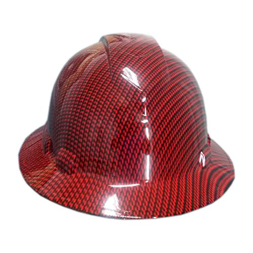 Full Graphics Hard Hat - Izzo Graphics Red Carbon Fiber Pyramex Ridgeline Full Brim Hard Hat