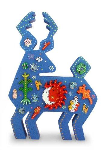 12.5 Tall NOVICA Large Blue Wood Display Jigsaw Puzzle Huichol Blue Deer 12.5 Tall Huichol Blue Deer/' 183296