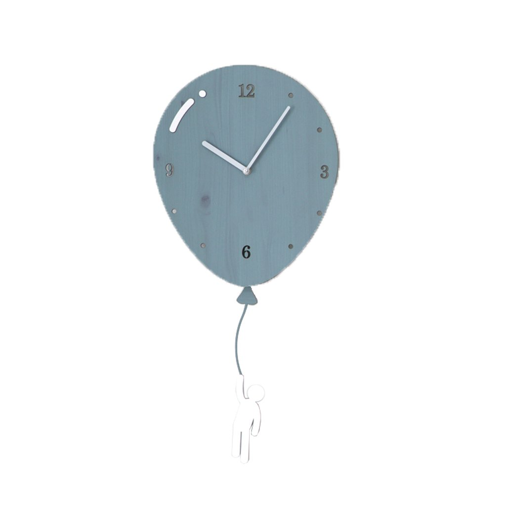 LINGZHIGAN ウォールクロッククリエイティブクロックバルーン形状壁掛けリビングルームベッドルームモダンホームクォーツ時計ミュートファッションシンプル (色 : Blue) B07FRGH1VQBlue