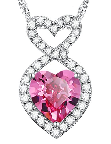 Anniversary Birthday Gifts for Her for Women Infinity Double Love Hearts Pink Tourmaline October Birthstone Necklace Sterling Silver Pendant Swarovski -
