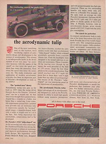 "Magazine Print Ad: 1962 Porsche 356,""The Aerodynamic Tulip.All it Shares With Other Cars is the Road"""