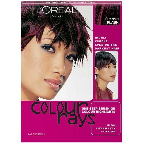 L'Oreal Colour Rays One Step Brush-On Colour Highlights, Fuschia Flash 1 ea (Color Rays Hair Dye)