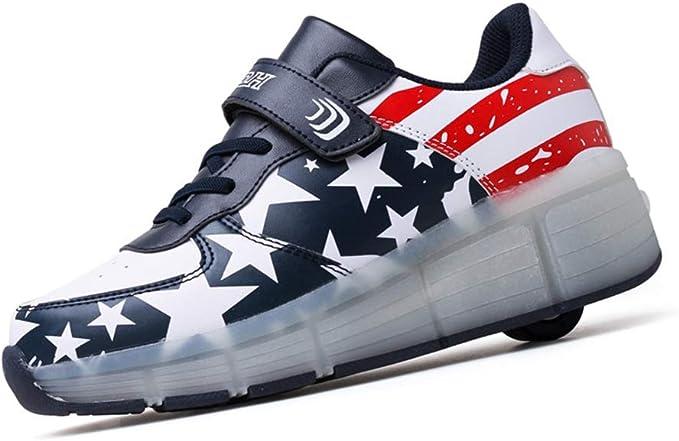 Unisex Kinder LED Rollschuh Schuhe mit R/ädern Jungen M/ädchen Mode Skateboard Schuhe LED Licht Blinkt Outdoor-Sportarten Gymnastik Sneakers