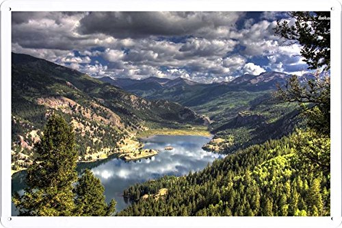 Tin Sign Poster #25504 Lake San Cristobal Colorado (20x30cm) By Nature Scene Painting