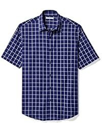 Amazon Essentials Men's Regular-Fit Short-Sleeve Plaid Shirt