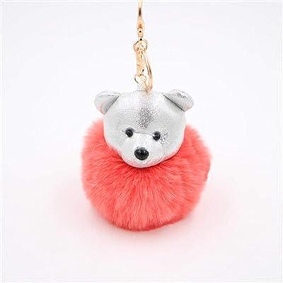 DUTGR joyería de moda lindo oso bola llavero coche llavero bolsa colgante encanto llavero de piel de felpa nuevas mujeres lindas clave@Marfil: Ropa y accesorios