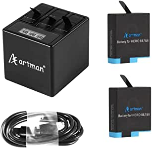 Artman Hero 8/7/6 1500mAh Replacement Batteries(2-Pack) and 3-Channel LCD USB Storage Charger Compatible with GoPro Hero 8 Black,GoPro Hero 7 Black,GoPro Hero 6 Black(Fully Compatible with Original)