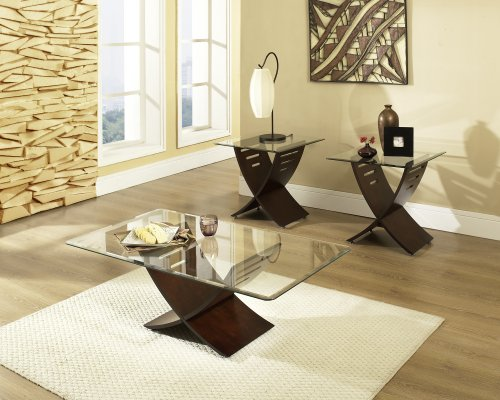 Cafe 3-Piece Occasional Table Set Espresso - Trendy Glass Top Coffee Table