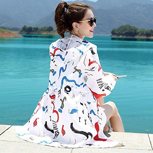 QFFL fangshaifu 女性ロングセクションフード付きサンプロテクションウェア/夏ルーズフード付きカジュアルコート/プリントファッション自己栽培日焼け防止服 (サイズ さいず : L l)