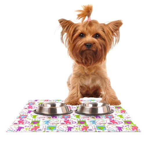 KESS InHouse Julia Grifol My Loving Dogs  Feeding Mat for Pet Bowl, 18 by 13-Inch