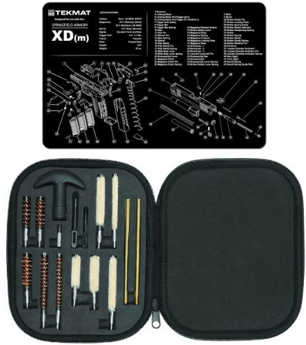 Ultimate Arms Gear Gunsmith & Armorer's Cleaning Work Bench Gun Mat Springfield Armory XD (m) XDm + Professional Tactical Cleaning Tube Chamber Barrel Care Supplies Kit Deluxe 17 pc Handgun Pistol Cleaning Kit in Compact Molded Field Carry Case for .22 /  by Ultimate Arms Gear