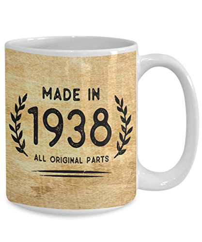 Perfect 1938 Mugs 80th Birthday Gifts - Made In 1938 All Original Parts Cool Birthday Gifts For Women And Men 11oz 15oz Full Wrap Coffee Mug 80th Mug