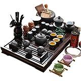 plateau de thé en Bois céramique Kung Fu Service À Thé-blanc et noir