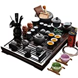 ufengke Chinese Ceramic Kung Fu Tea Set With Wooden Tea Tray And Small Tea Tools, Tea Service, Toy Tea Set For Gift, Office Home Use, White And Black