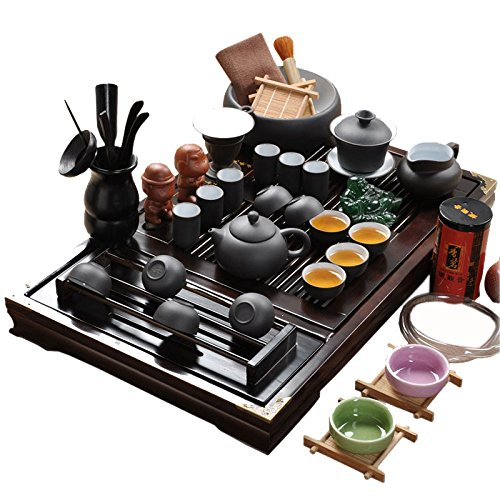 ufengkeWood Tea Tray Ceramic Kung Fu Tea Set Tea Service-White And Black