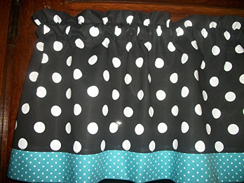 Black White Blue Polka Dot retro mid-century mod fabric kitchen curtain Valance