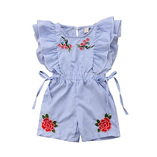 Toddler Baby Girl Flower Romper Kid Summer Stripe Ruffle Floral Bodysuits Jumpsuit Outfits Clothes(3-4T) Blue