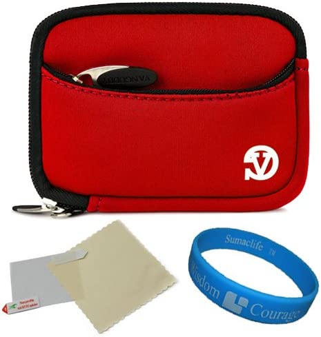VanGoddy Mini Glove Sleeve Pouch Case for Ivation IV WPDC20 Waterproof Digital Cameras and Screen Protector Red