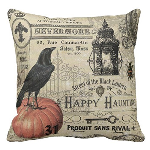 (Emvency Throw Pillow Cover French Modern Vintage Halloween Pumpkin and Lantern Decorative Pillow Case Home Decor Square 20 x 20 Inch)