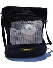 Asoract Hamster Carrier Bag, Carrier Bag Super Soft Coral Fleece,Sugar Glider Bonding Pouch Carry for Sugar Gliders and Other Small Pets (Black)