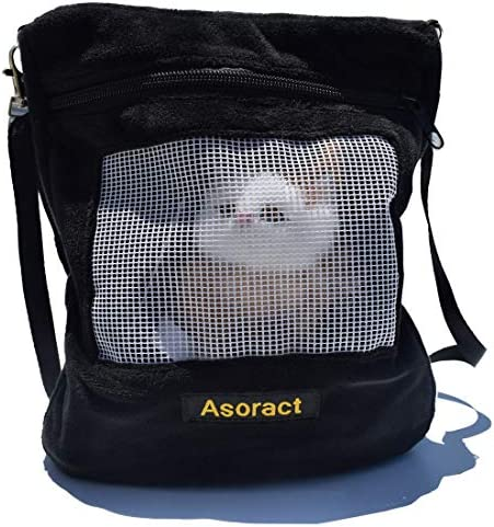 Asoract Hedgehog Carrier Pouch Newly Designed Sugar Glider Bonding Pouch Super Soft Coral Fleece Portable Small Animal Travel Carrier with Adjustable Shoulder Strap Breathable Mesh for Sugar Gliders