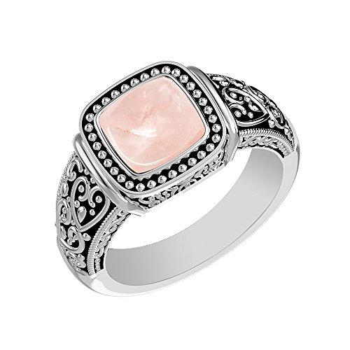 Rose Quartz Solitaire Ring - 1.90ctw, Genuine Rose Quartz Cushion & .925 Silver Overlay Solitaire Ring Size-8