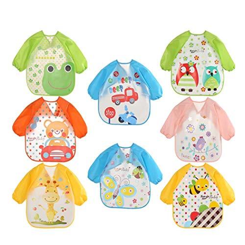Iekofo Baby Smock Feeding Bib, Full Body Long Sleeve Toddler Cartoon Pattern Waterproof Bib, Boy & Girl