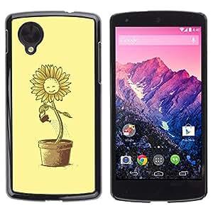 PC/Aluminum Funda Carcasa protectora para LG Google Nexus 5 D820 D821 Sun Flower Pot Watering Can Yellow Happiness / JUSTGO PHONE PROTECTOR