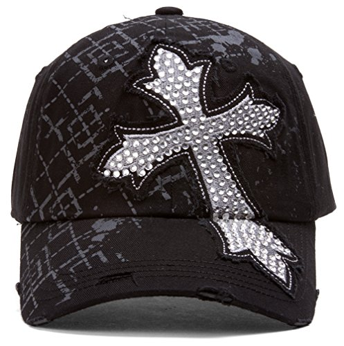 TopHeadwear Beaded Cross Distressed Adjustable Baseball Cap - Black