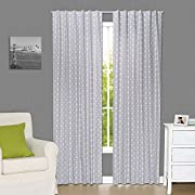 Grey Arrow Print Blackout Window Drapery Panels - Two 84 by 42 Inch Panels