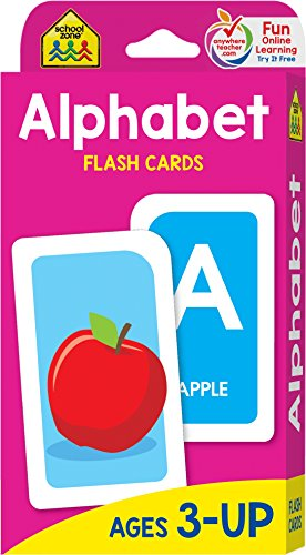 School Zone - Alphabet Flash Cards - Ages 3+, PreK, Letter-Picture Recognition, Word-Picture Recognition, Alphabet, and More -